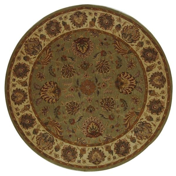 6 Round Persian Area Rugs Gold Wool Oriental Carpet: Safavieh Handmade Heritage Traditional Kerman Green/ Gold