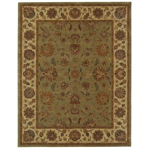 Safavieh Handmade Heritage Traditional Kerman Green/ Gold Wool Rug - 7'6 x 9'6
