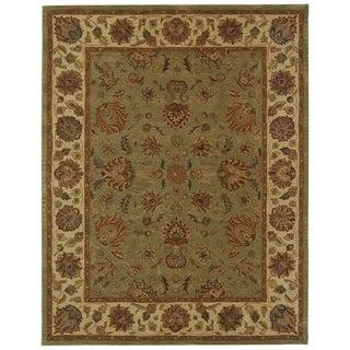 Safavieh Handmade Heritage Traditional Kerman Green/ Gold Wool Rug (8'3 x 11')
