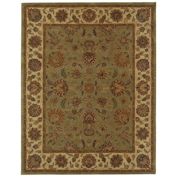 Safavieh Handmade Heritage Traditional Kerman Green/ Gold Wool Rug - 8'3 x 11'