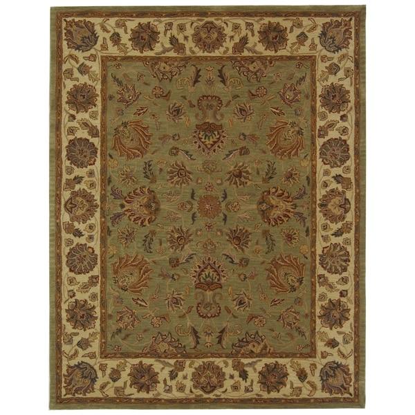 Safavieh Handmade Heritage Traditional Kerman Green/ Gold Wool Rug - 9'6 x 13'6