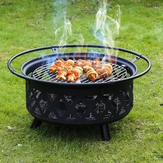 Kinbor 30-inch Outdoor Steel Fire Pit Firebowl with Cooking Grill & Spark Screen