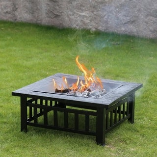 Kinbor 32-Inch Square Burning Fire Pit Steel Patio Fireplace Garden Stove