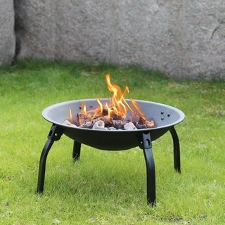 Kinbor 22-Inch Folding Fire Pit Fire Bowl Backyard Heater with Cooking Grill & Spark Screen