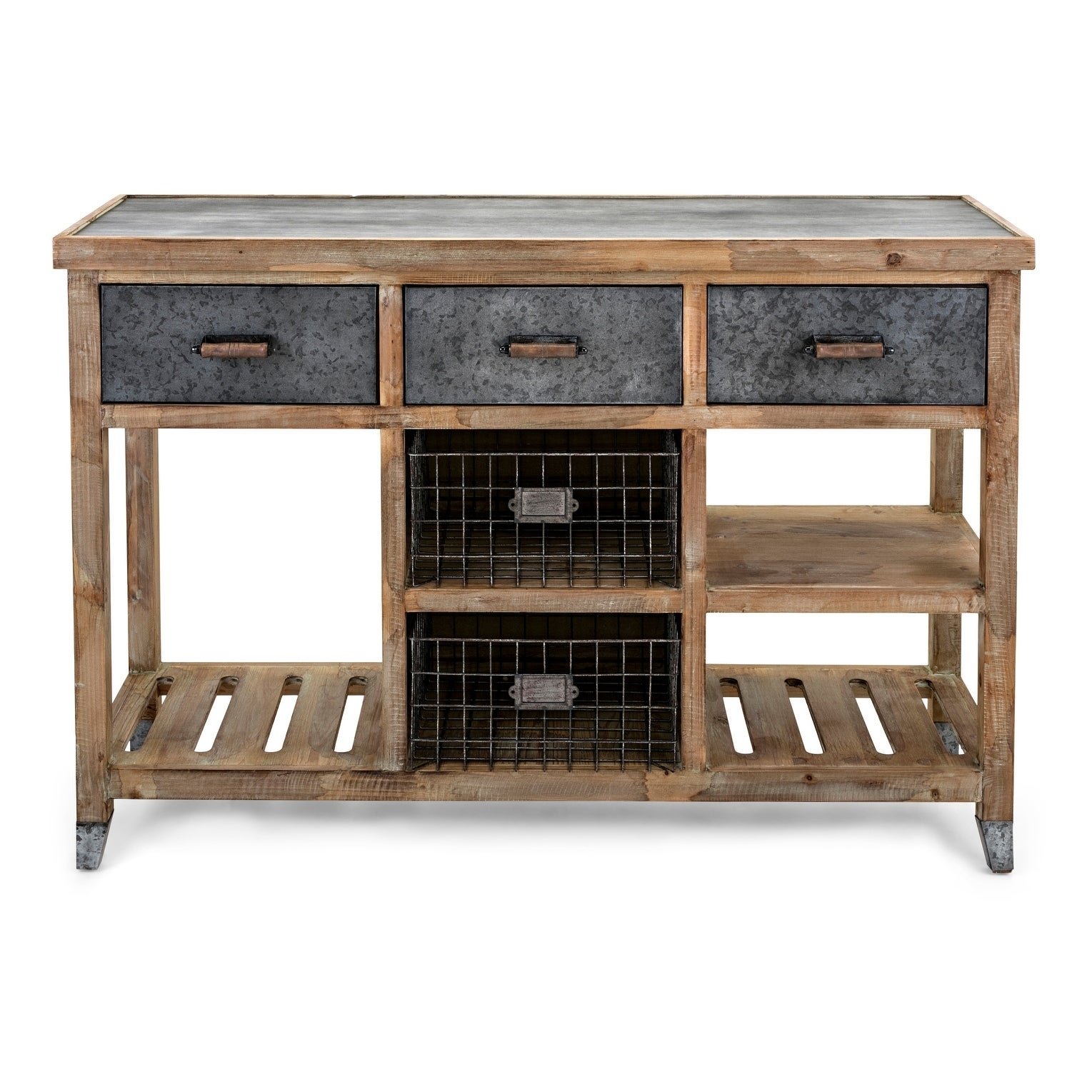 Wood And Metal Console Table With