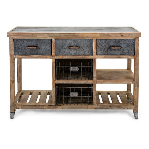 Shop Wood And Metal Console Table With Storage And Display Natural