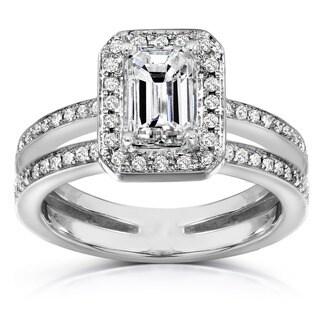 Annello by Kobelli 14k Gold 1 1/3ct TDW Emerald Cut Diamond Ring