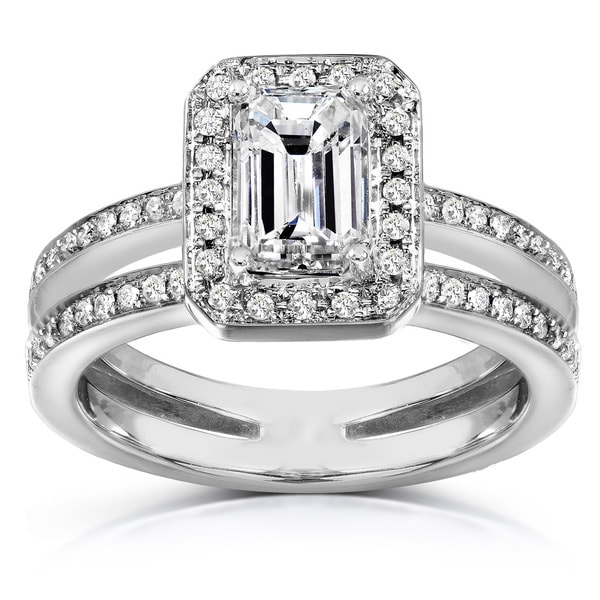 Annello by Kobelli 14k Gold 1 1/3ct TDW Emerald Cut Diamond Ring (H-I, SI1-SI2)