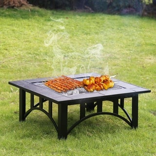 Kinbor 33-inch Square Burning Fire Pit Backyard Fireplace w/ Cooking Grill, Spark Screen & Cover