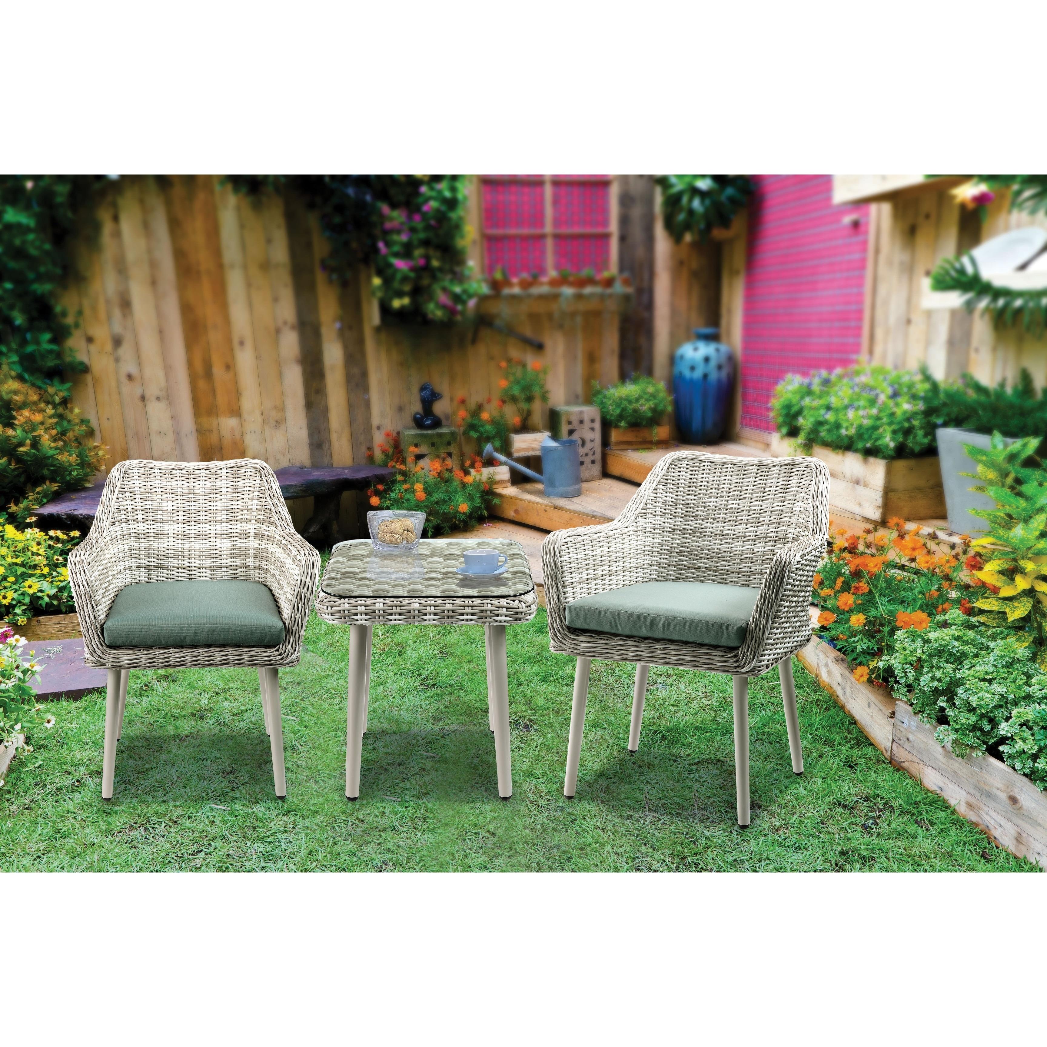 Acme Tashay 3pc Patio Bistro Set Green Fabric Beige Wicker