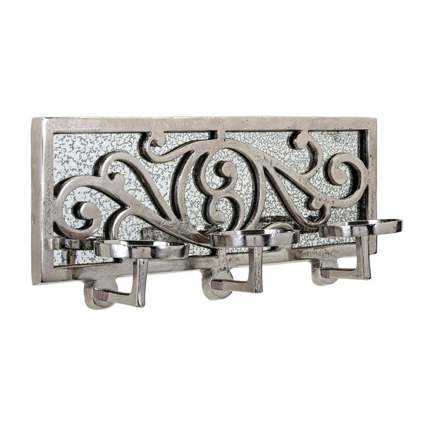 Metal and Glass Crafted Wall Candleholder, Gray