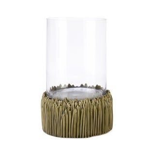 Glass Candle Hurricane with Ribbed Ceramic Base, Large, Clear and Gold