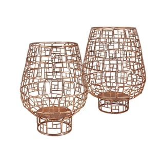 Metallic Candle Holders, Set of Two, Copper