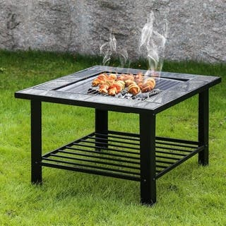 Kinbor 30-inch Burning Fire Pit Backyard Heater Steel Firepit Bowl with Spark Screen & Cover