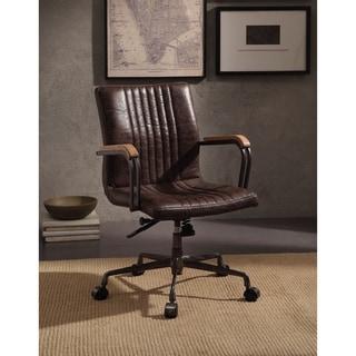 ACME Joslin Executive Office Chair, Distress Chocolate Top Grain Leather