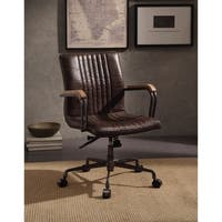 ACME Joslin Executive Office Chair, Distress Chocolate Top Grain Leather