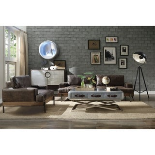 ACME Silchester Oak and Distressed Chocolate Top Grain Leather Sofa