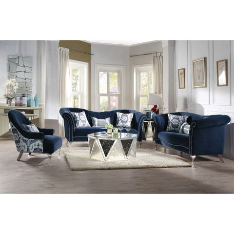 ACME Jaborosa Sofa w/3 Pillows, Blue Velvet