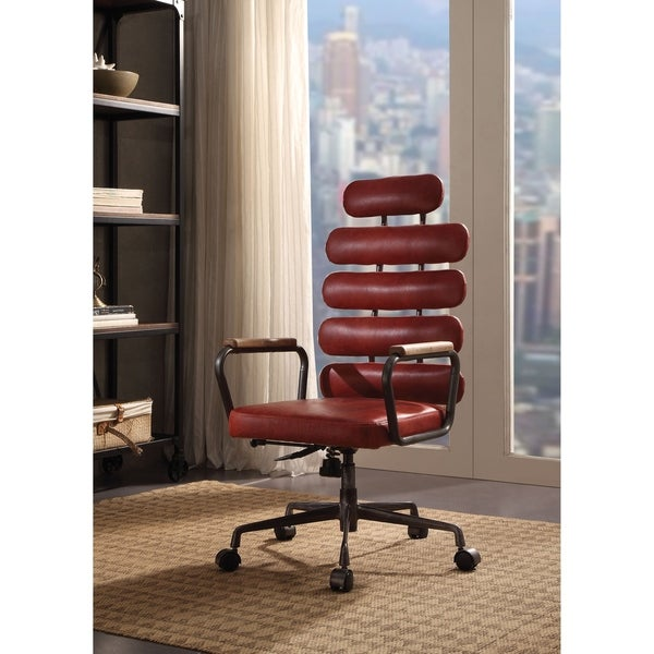 ACME Calan Executive Office Chair, Vintage Red Top Grain Leather