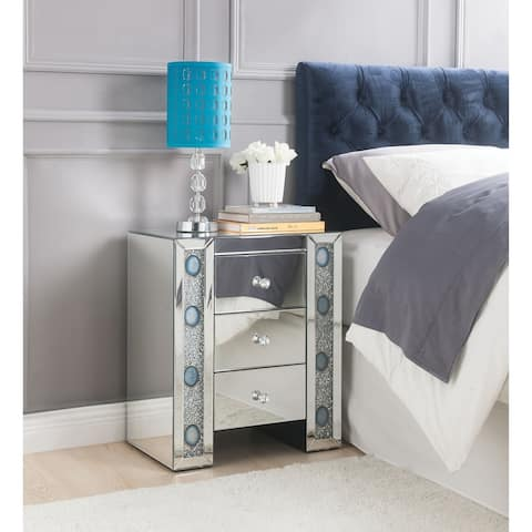 ACME Sonia Nightstand, Mirrored and Faux Agate