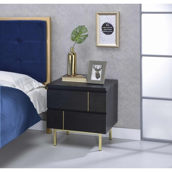 Acme Shadan Nightstand, Black And Brass by Acme