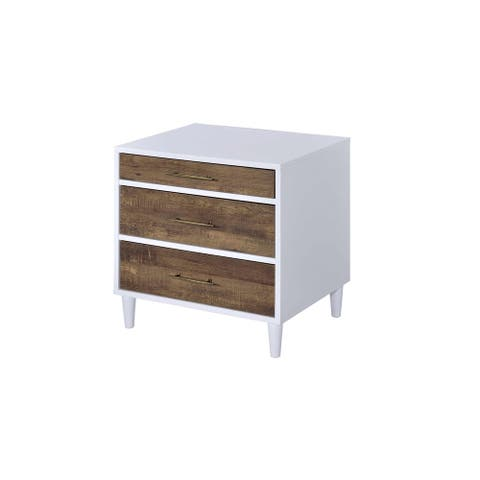 ACME Lurel Nightstand, White and Weathered Oak