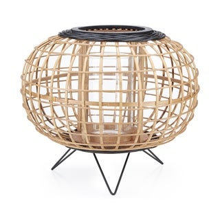 Crisscross Pattern Bamboo Lantern with Metal Stand, Large, Brown and Black