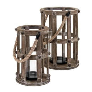 Wooden Lanterns with Attached Rope Handles, Brown, Set of Two