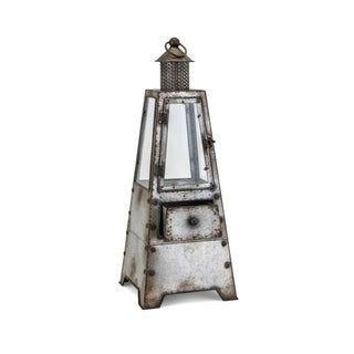 Link to Rustic Iron and Glass Lantern with Two Drawers, Small, Gray and Clear Similar Items in Accent Pieces