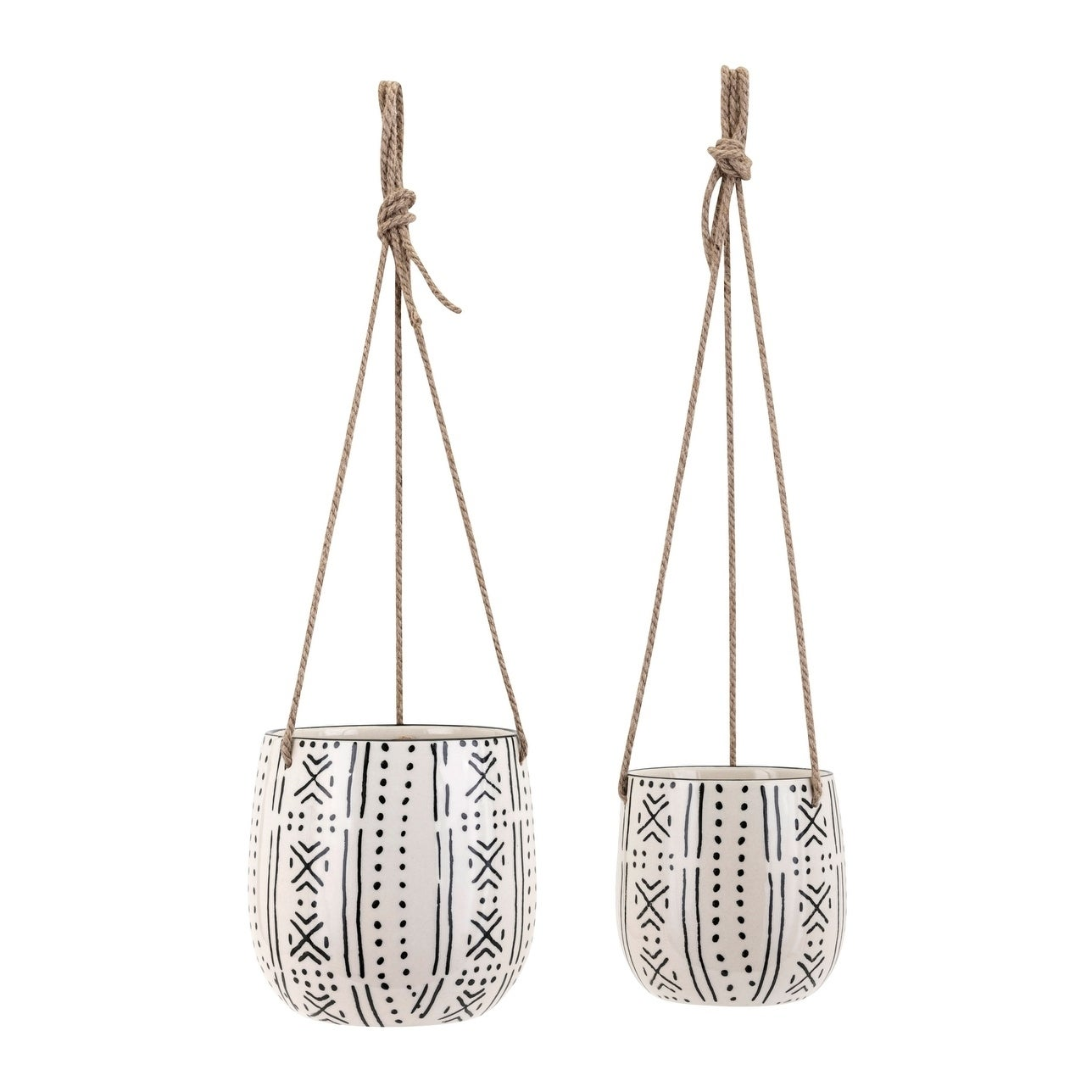 Round Ceramic Hanging Planters With Hemp Rope Handles Black And White Set Of 2 Overstock 26123565