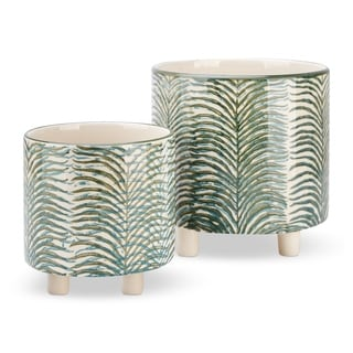 Ceramic Round Footed Planters with Leaves Texture, Set of 2, Multicolor