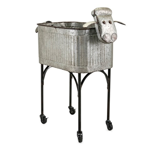 Shop Lamb Style Metal Crafted Planter With Stand Galvanized Gray