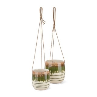 Round Ceramic Planters with Rope Hanger, Set of 2, Multicolor