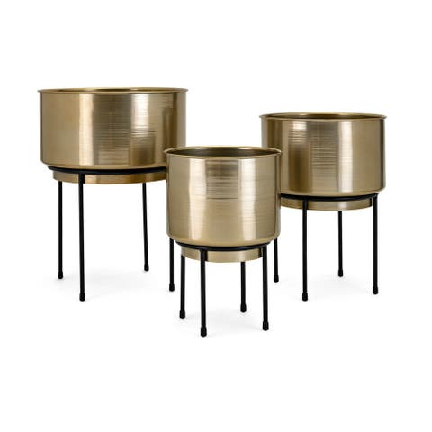 Metal Crafted Planters on Stand, Set of Three, Gold and Black