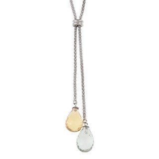 DaVonna Silver Chian with Amethyst and Citrine Lariat Necklace