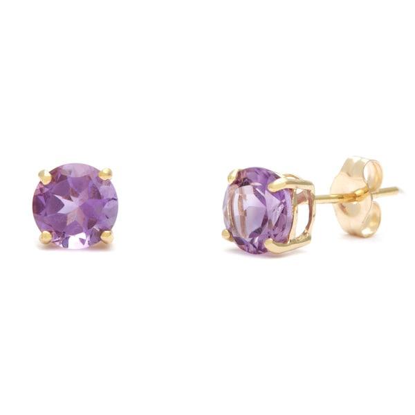 Kabella 14k Yellow Gold Round Amethyst Stud Earrings