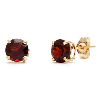 Kabella 14k Yellow Gold Round Garnet Stud Earrings