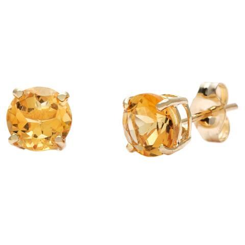 Kabella 14k Yellow Gold Round Citrine Stud Earrings