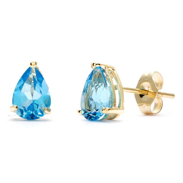 Kabella 14k Yellow Gold Pear Blue Topaz Stud Earrings