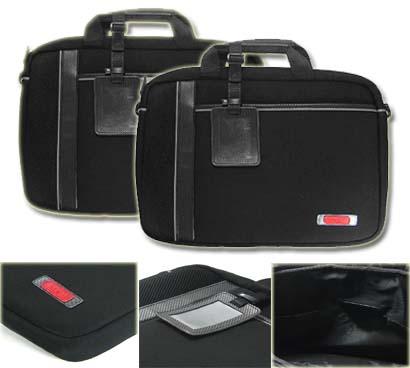Kroo Black/Grey 15-inch Man-made Leather Laptop Case