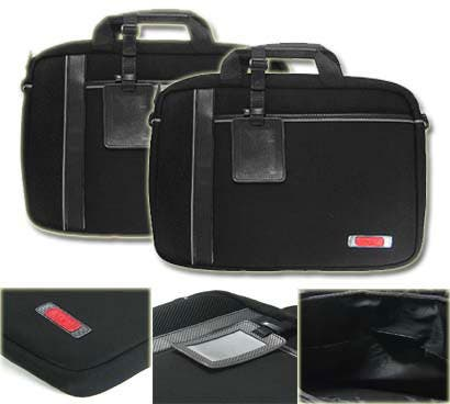 Kroo Black/Grey 15-inch Man-made Leather Laptop Case