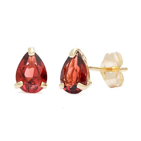 Kabella 14k Yellow Gold Pear-shaped Garnet Stud Earrings