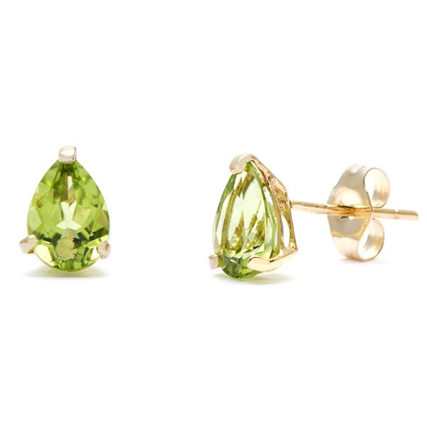 Kabella 14k Yellow Gold Pear Peridot Stud Earring