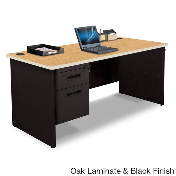Marvel 66-inch Single Pedestal Steel Desk