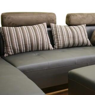 Leighton 3-piece Black Leather Sofa Sectional Set