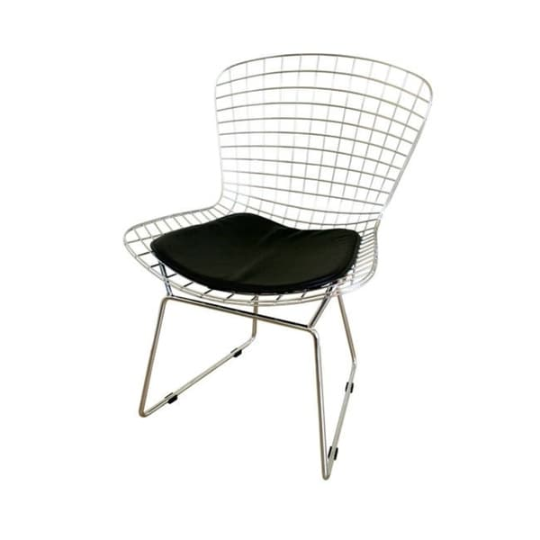 Modern Black Faux Leather and Metal Dining Chair by Baxton Studio