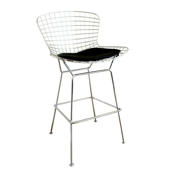 Tomkin Mesh Bar Stool With Leatherette Seat Pad Free