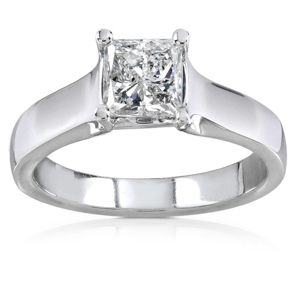 Annello by Kobelli 14k Gold 1ct TDW Princess Diamond Solitaire Ring (H-I, I1-I2)