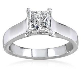 Annello by Kobelli 14k Gold 1ct TDW Princess Diamond Solitaire Ring (H-I, I1-I2)
