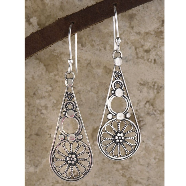 Sterling Silver Filigree Drop Earrings (Israel) - Thumbnail 0